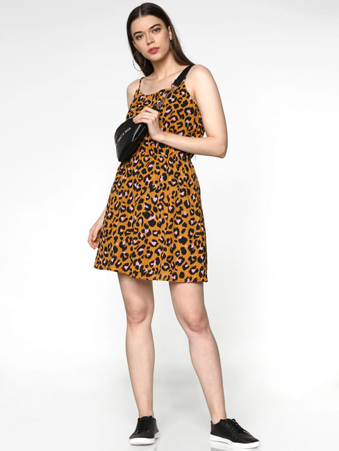 Brown All Over Cheetah Print Fit & Flare Dress