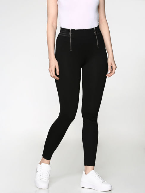Black High Rise Silver Zip Detail Elasticated Waist Skinny Fit Leggings
