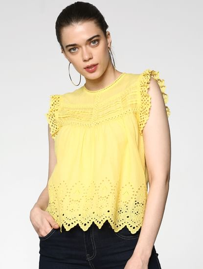 Yellow Cut Work Frill Sleeves Top