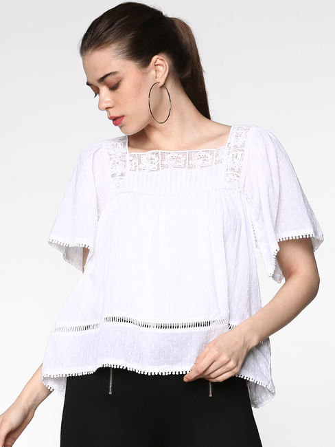 White Cut Work Embroidery Flared Top