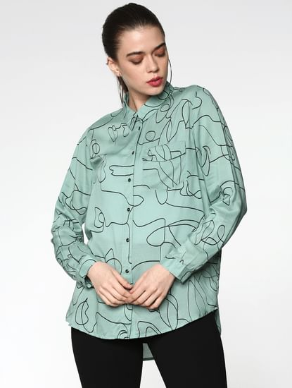 Green All Over Scribble Print Shirt