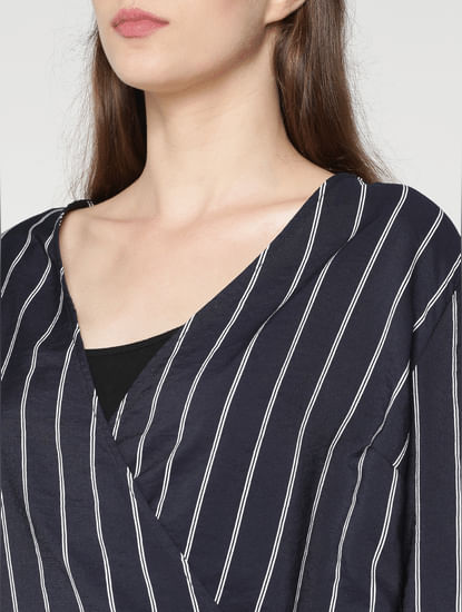 Navy Blue Striped Wrap Top