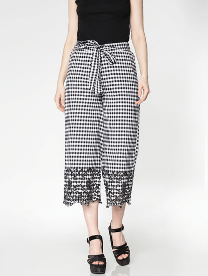 White Mid Rise Check Lace Hem Pants