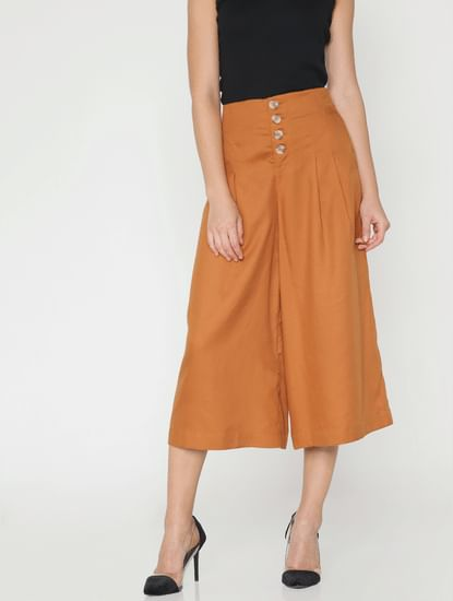 Brown Mid Rise Culottes