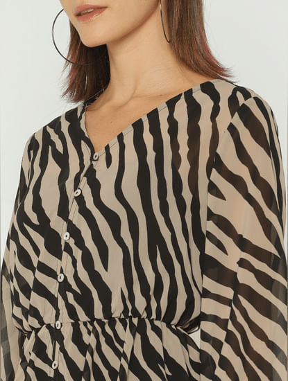 Brown Animal Print Sheer Midi Dress