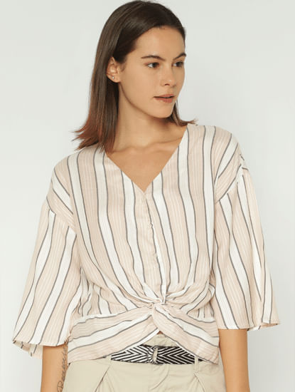 Pink Striped Front Twist Shirt
