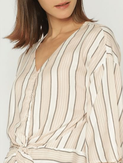 Pink Striped Front Twist Shirt