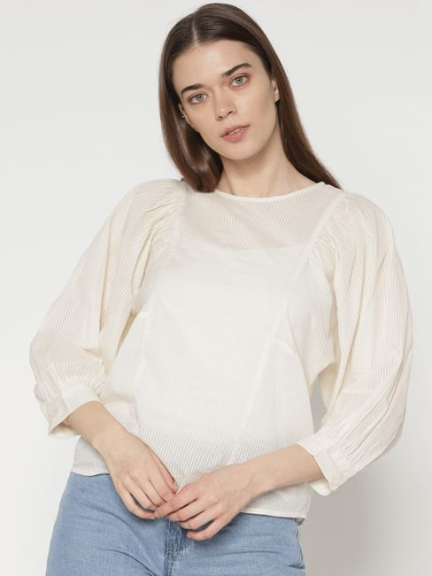 Off White Striped Cuff Sleeves Top