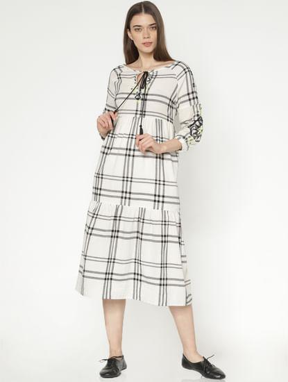 White Check Midi Dress