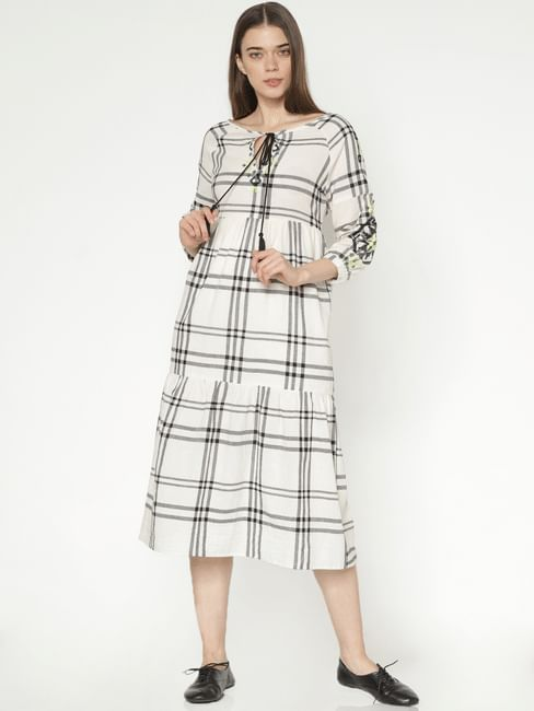 White Check Midi Dress