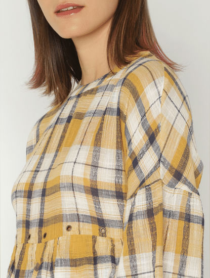 Yellow Check Rivet Detail Layered Top