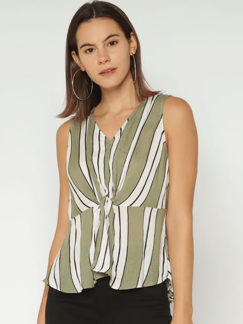 Green Striped Knot Detail Top