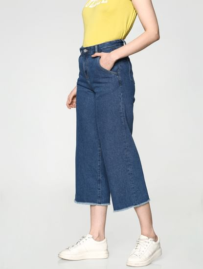 Blue High Waist Washed Ankle Length Comfort Fit Wide Leg Jeans