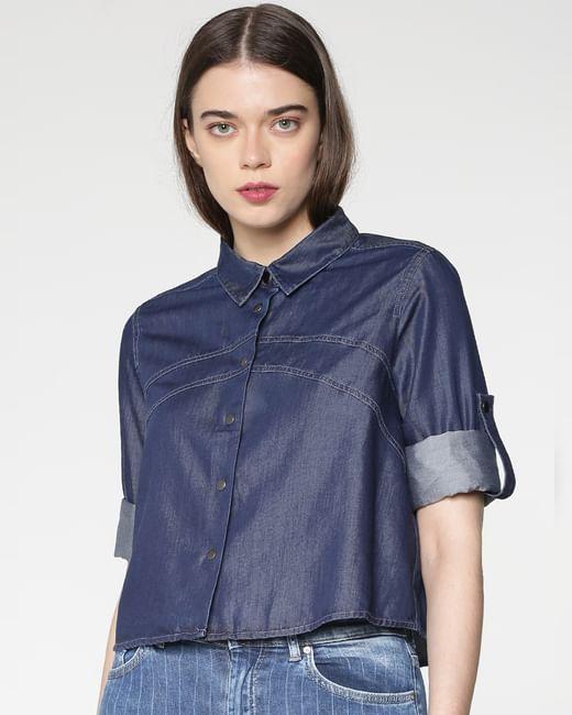Blue Cropped Denim Shirt
