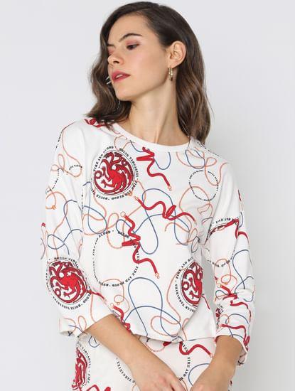 X Got White All Over Print Sweatshirt