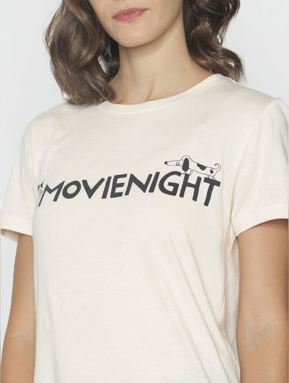 Ft Ananya Panday Off-White Text Print T-Shirt