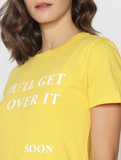 Ft Ananya Panday Mustard Text Print T-Shirt