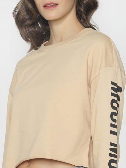 Ft Ananya Panday Beige Cropped Sweatshirt