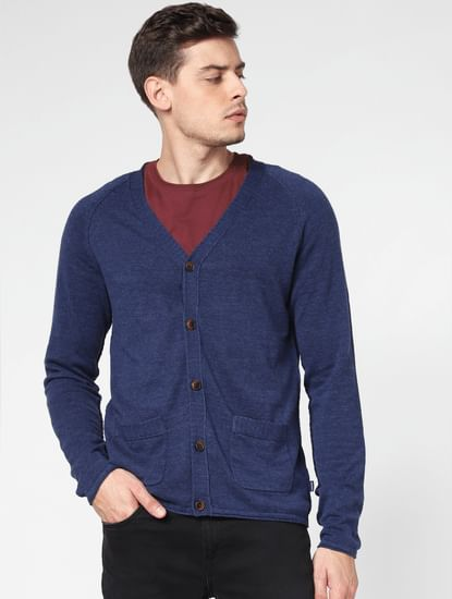 Blue Front Open Cardigan