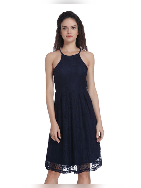Dark Blue Racer Back Lace Dress