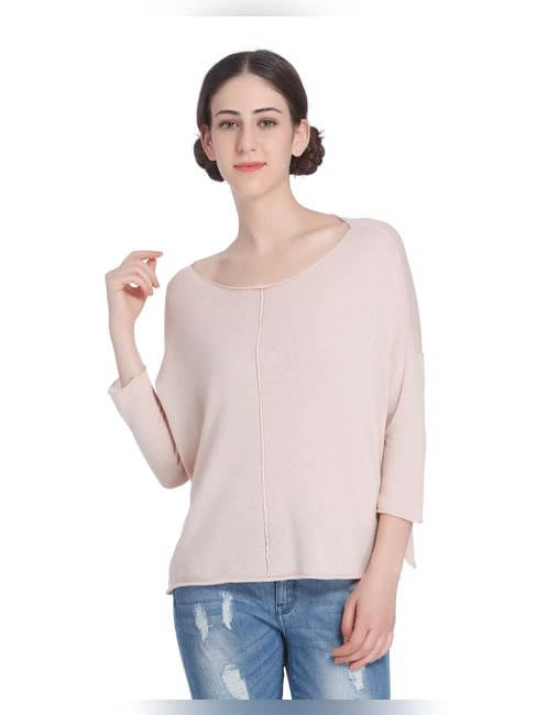 Pink Oversized Knit Top