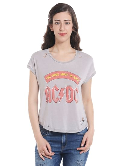 Ac/Dc Print Light Grey Crop Top