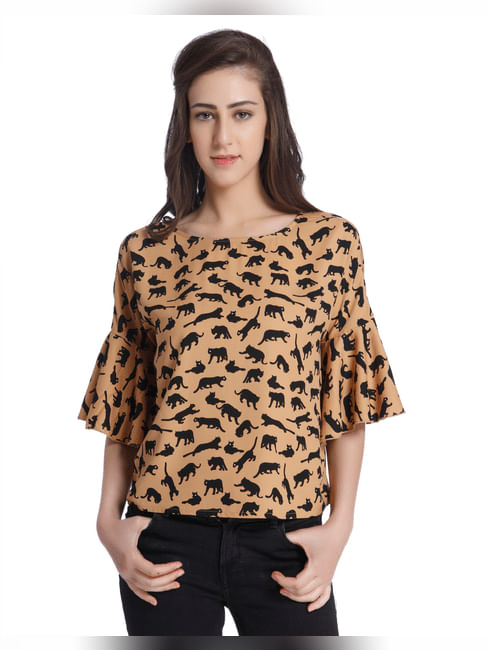 Leopard Print Ruffle Sleeves Brown Top