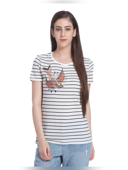 White Bird Print Striped T-Shirt