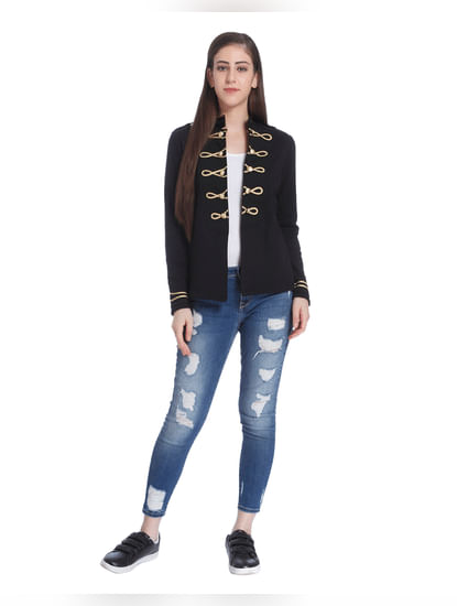 Black & Gold Trimmings Knit Jacket