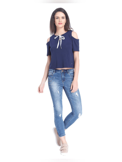 Dark Blue Cold Shoulder T-Shirt