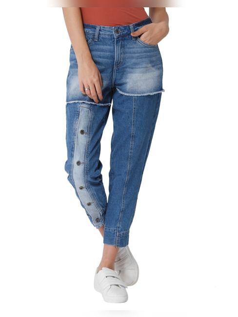 Blue Front Button Detail Mid Rise Comfort Fit Jeans