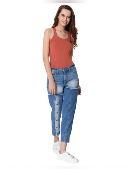Blue Front Button Detail Mid Rise Comfort Fit Jeans