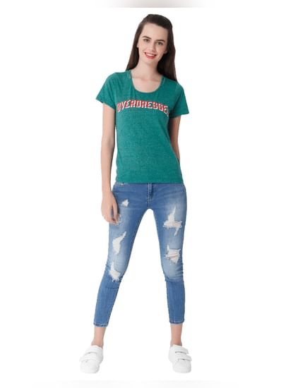 Green Overdressed Print T-Shirt