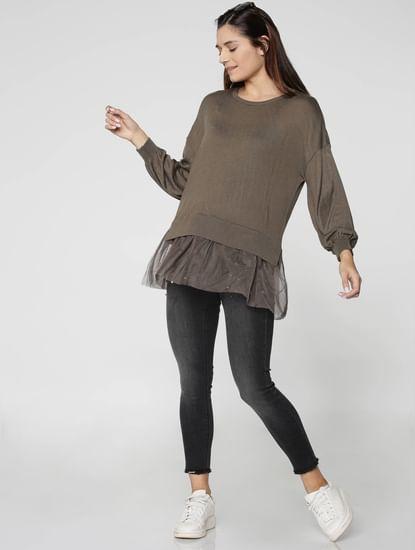 Grey Net Shirt Insert Pullover