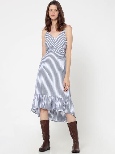 Blue Striped Tie Up Back Midi Dress