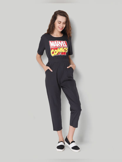X Marvel Black Graphic Print Jumpsuit