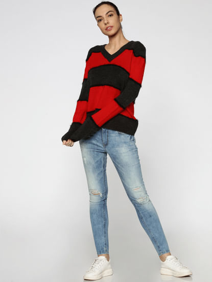 Red Striped Pullover