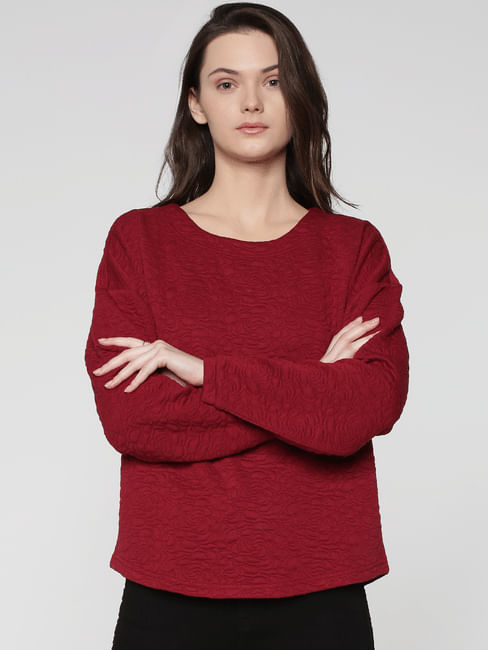 Red Floral Textured Sweatshirt