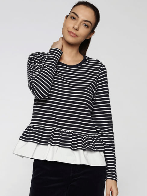 Blue Striped Peplum Top