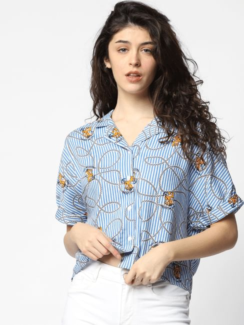 X Tom & Jerry White Striped Shirt