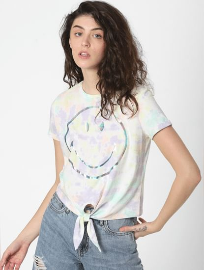 X SMILEY White Tie-Dye Smiley T-shirt