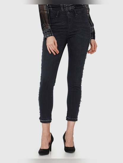 Dark Grey Studded Mid Rise Skinny Fit Jeans