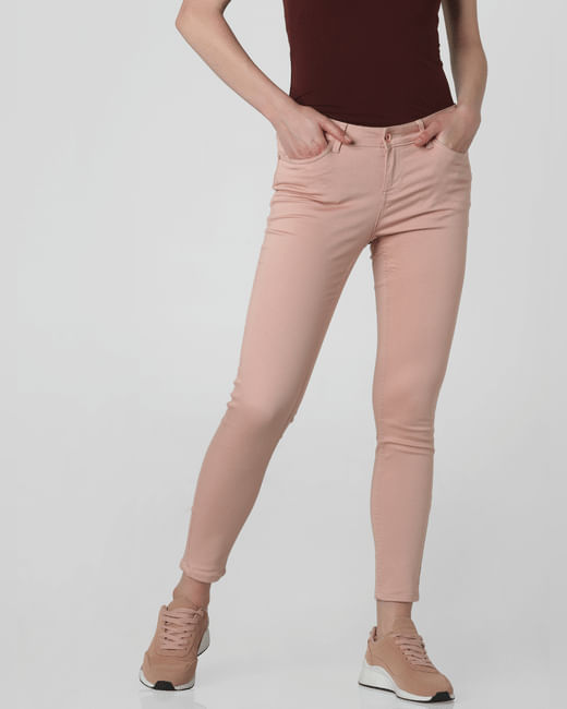 Dark Pink Mid Rise Skinny Fit Jeans