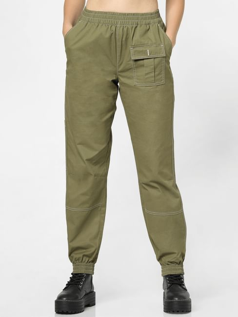 Green Low Rise Loose Fit Joggers