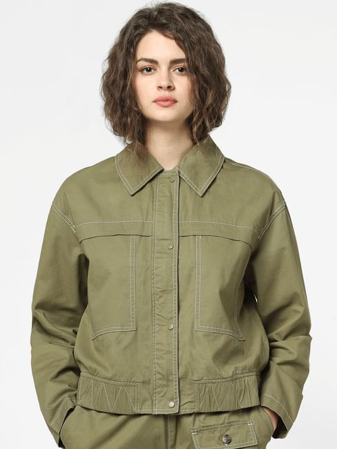 Green Front Buttoned Jacket