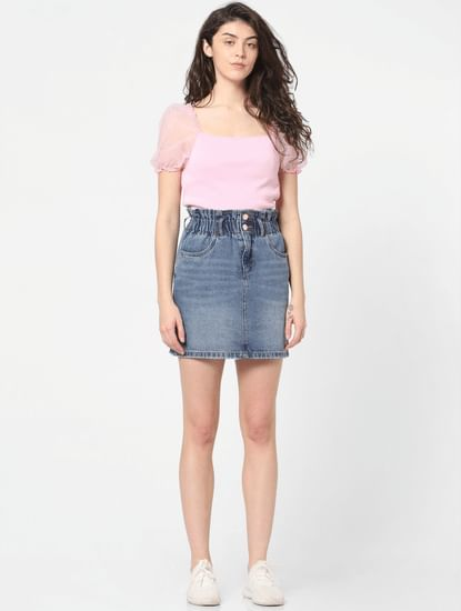 Blue High Rise Paperbag Waist Denim Skirt