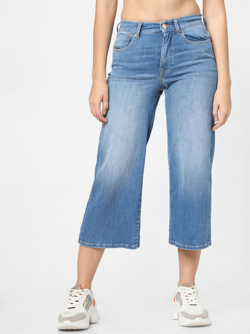 Blue High Rise Mildly Washed Wide Leg Jeans