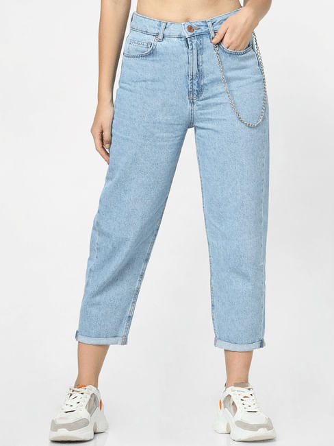 Light Blue High Rise Washed Mom Jeans