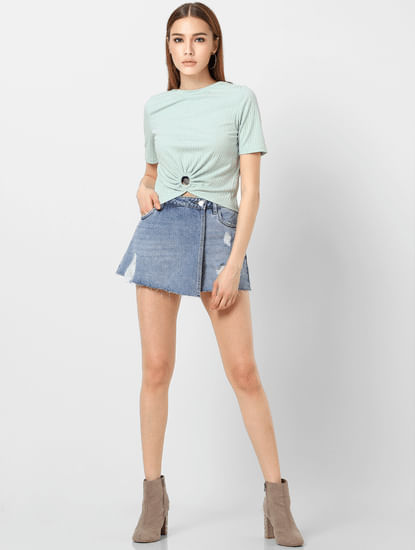 Green O Ring Detail Cropped Top