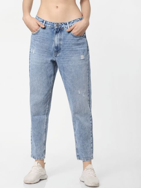 Blue Mid Rise Washed Comfort Fit Jeans